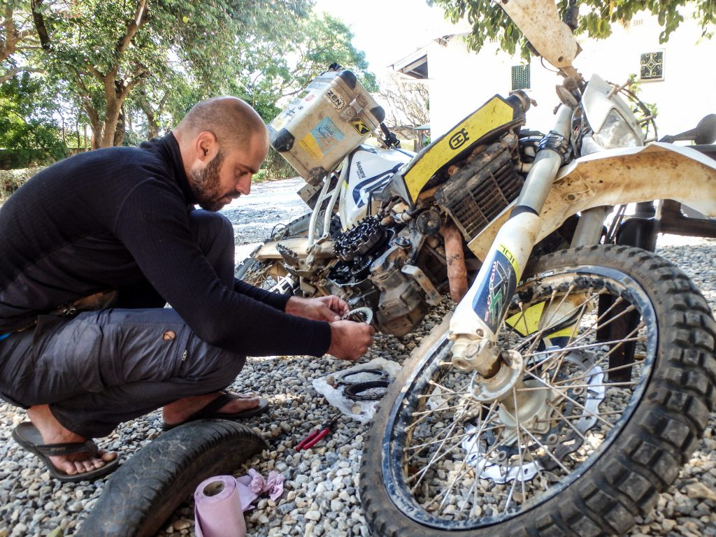 Tom installing new clutch discs on his bike