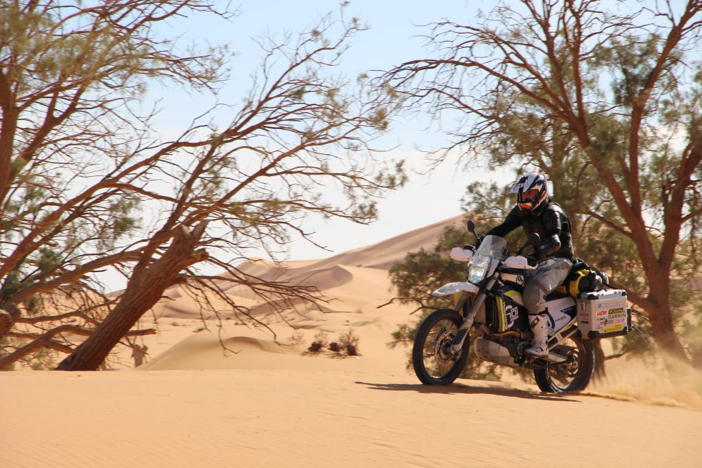 Tom playing around a bit in the dunes of Erg Chebbi
