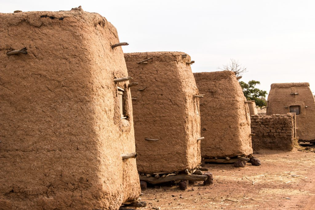 Typical small barns on our way to Djenné