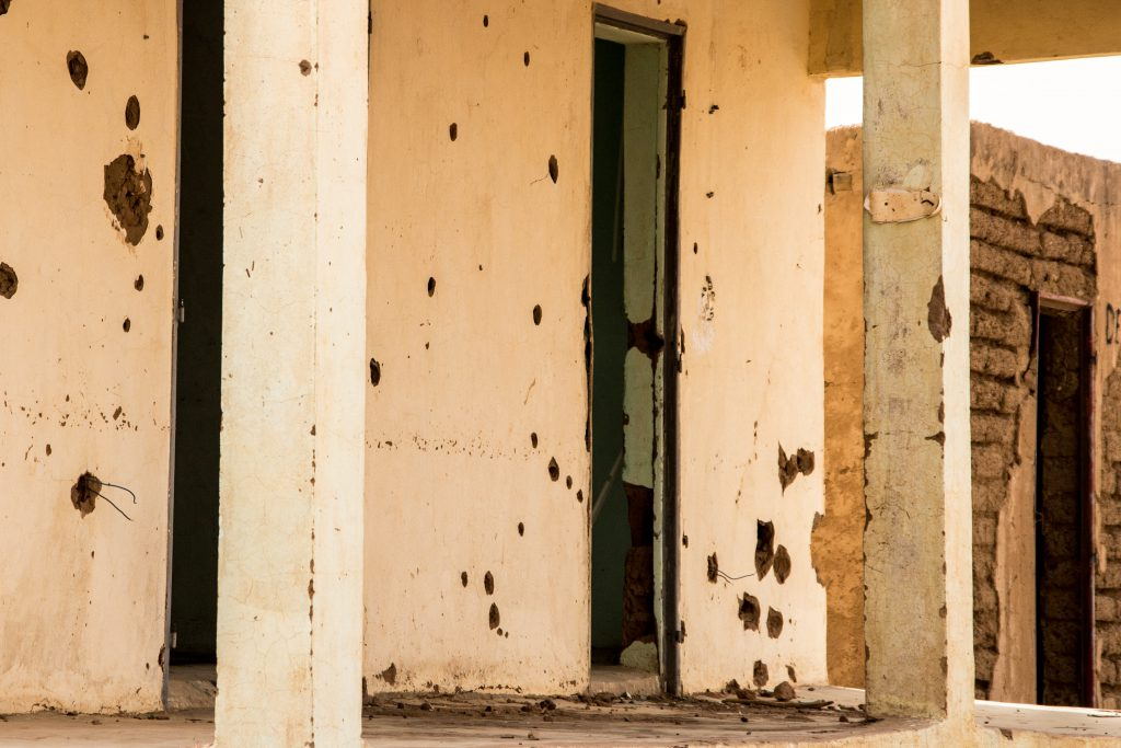 Last Mali border post on the way to Burkina. Bullet holes all over...