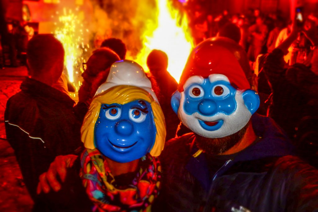 Belgian smurf masks and bonfires at- new years even