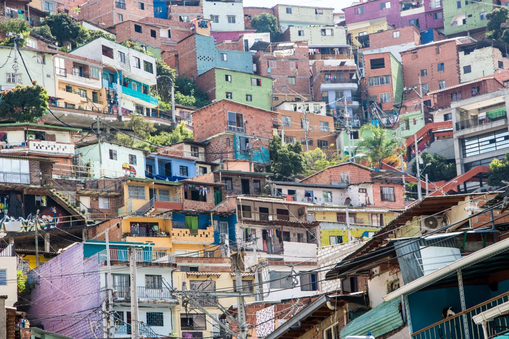 Colourful houses in Comuna 13, Medellin, the Pablo Escobar neighborhood