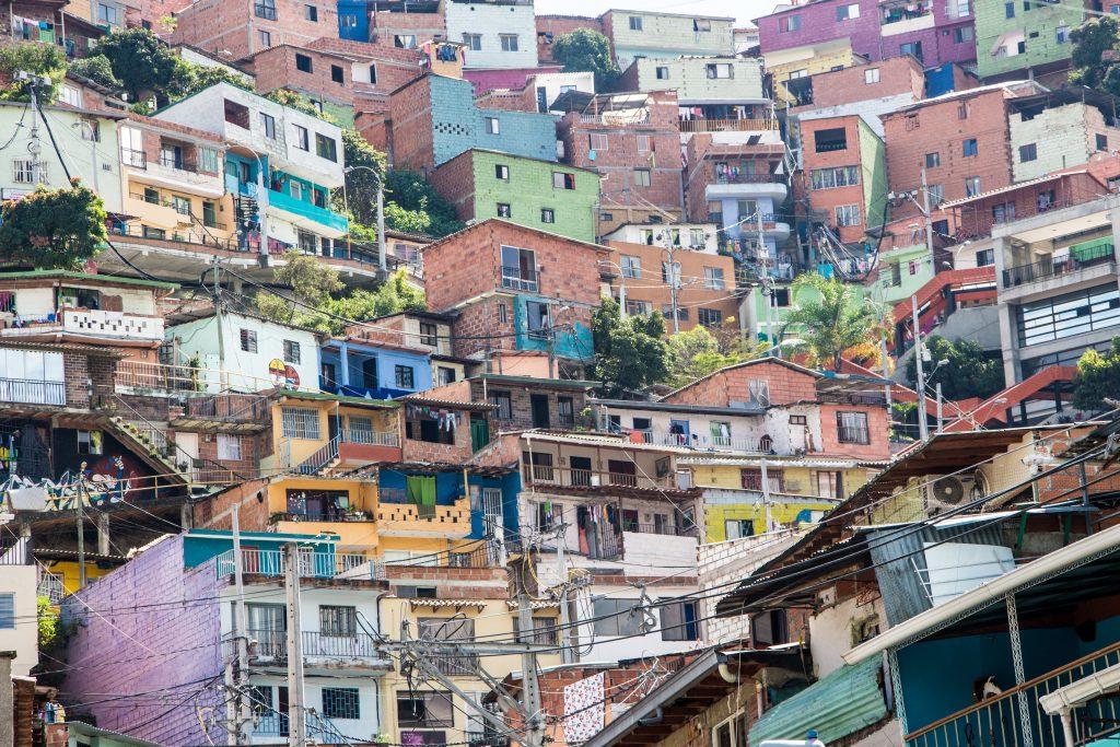Colourful houses in Comuna 13, Medellin, the Pablo Escobar neighborhood