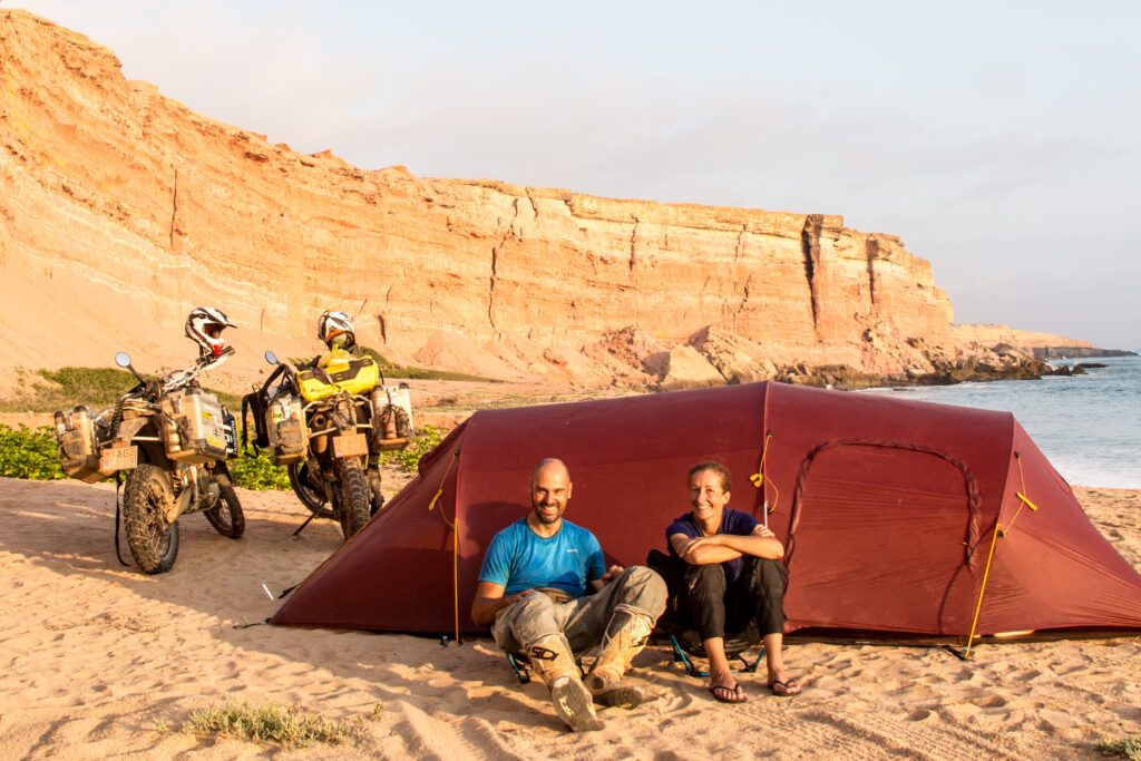 Camping on a remote beach in Angola requires extra sand stakes